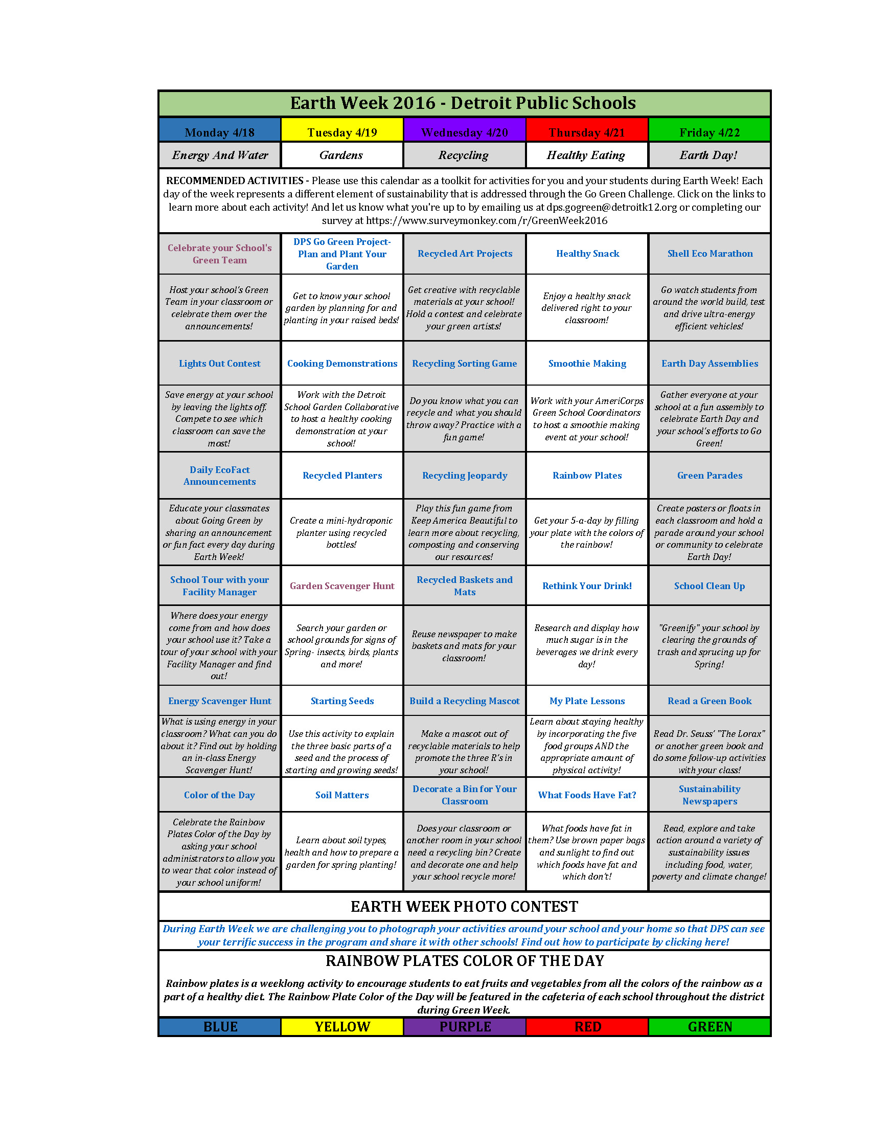 Dps Calendar.Dpscd Green Week Activities Detroit Public Schools Go Green Challenge